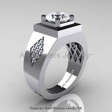 White Gold Cz Wedding Rings by Mens Modern Classic 14k White Gold 2 0 Ct Russian Cubic Zirconia