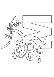 monkey hanging branch alphabet coloring animal