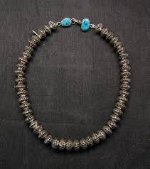 sterling silver necklace beads images Orville tsinnie navajo handmade sterling silver stamped fluted jpg