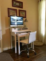 Container Store Leaning Desk Java Solid Wood Roll Out Desk The Container Store