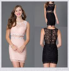 short tight homecoming dresses 2015 sheath black lace jewel