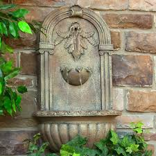 florence wall water fountain solar powered with battery battery
