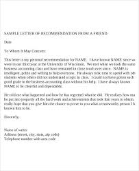 College Letter Of Recommendation From A Family Friend college recommendation letter from family friend sle sle character