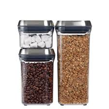 Stainless Steel Canisters Kitchen 3 Piece Steel Pop Container Set Oxo