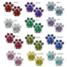 birthstones paw print birthstone earrings the animal rescue site
