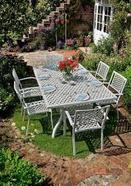 Steel Or Aluminum Patio Furniture Impressive White Cast Aluminum Patio Tables With Blue And White