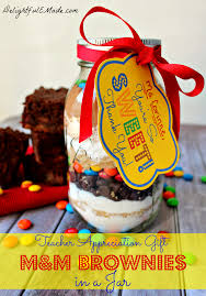 m u0026m brownies in a jar with free printable delightful e made