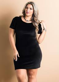 Common Vestido Tubinho Plush Preto Plus Size - Quintess &PK98
