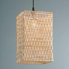 Woven Pendant Light Rectangle Woven String Pendant Light Shades Of Light