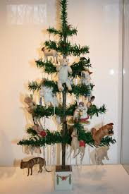 antique feather tree with lovely cotton ornaments antique german