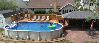 Outdoor Rectangular Ground Pool Sizes Landscaping Around