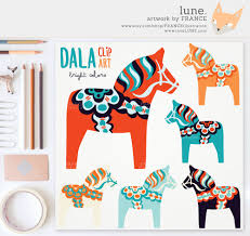get 3 for 2 bright dala horse clip art traditional nordic