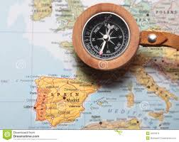 Valencia Spain Map by Travel Destination Spain Map With Compass Stock Photo Image