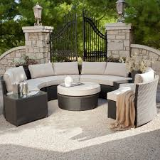Curved Wicker Patio Furniture - cassandra round outdoor wicker dining sofa set patio furniture