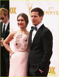joanna newsom wedding dress andy samberg joanna newsom hit emmys 2015 carpet