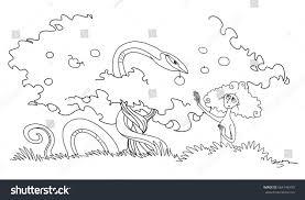 serpent tempts eve eat forbidden fruit stock illustration