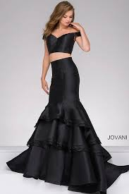 black ivory long fitted two piece ruffle neckline prom dress