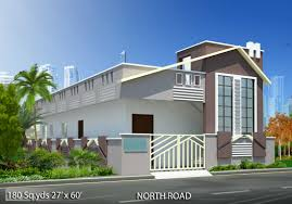 180 sq yds 27x60 sq ft north face house 2bhk elevation view for