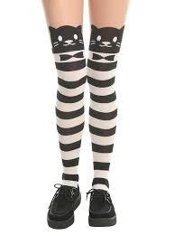 black u0026 white stripe cat face faux thigh high tights topic