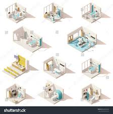 vector isometric low poly hospital rooms stock vector 609586637