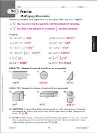 collection of solutions glencoe algebra 1 worksheets answer key