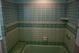 modern style basement ceramic subway tiles with glass bathroom