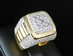 engagement rings square images Men 39 s yellow gold finish simulated diamond 3d iced square pinky jpg