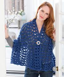fan trellis wrap crochet pattern red heart