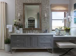 makeup vanity set bathroom transitional with cream shower curtain