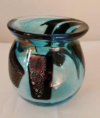 dichroic teal glass vase studio art iridescent pontil blue home