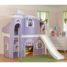 girls dollhouse bed wow iii deluxe panel low loft tent bed with slide hayneedle