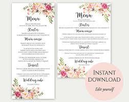 menu templates for weddings wedding menu etsy