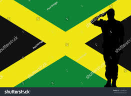 Jamiaca Flag Jamaica Flag Silhouette Soldier Saluting Stock Vector 113470378