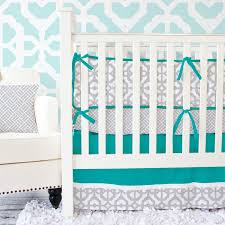 Teal Crib Bedding Set Mod Lattice Crib Bedding Set In Teal And Gray By Caden