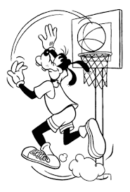 goofy playing basketball coloring free printable coloring pages