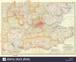 England Counties Map by Se England Home Counties Inc Bucks Essex Middx 1903 Antique
