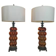 Iron Table Lamps Grand Scale Murano Amber Bubble Glass And Iron Table Lamps For