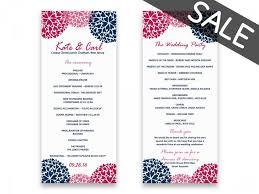 wedding program formats sale wedding program template sale printable wedding