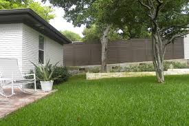 Glass Patio Fencing Horizontal Fence Landscape Midcentury With Grass Mahogany Outdoor