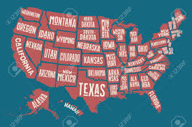 Map Of United States Of America by Poster Map Of United States Of America With State Names Print