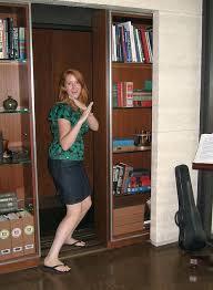 bookcase stashvault secret elevator door made from a sliding
