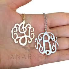 2 inch monogram necklace personalized name necklaces in silver from shopanarshe on etsy