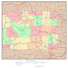 Map Of State by Large Detailed Administrative Map Of Wyoming State With Roads
