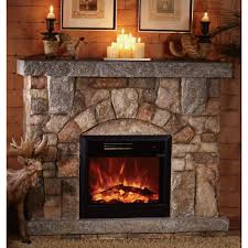 astonishing design rock electric fireplace decorflame rustic at