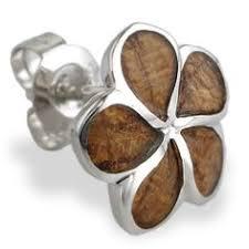 Koa Wood Plumeria Flower Sterling Silver Pendant Sterling Silver Sun Pendant With Koa Wood Inlay Chain Included