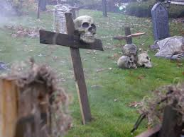 halloween yard shot i forgot about these cross grave markers