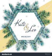 wedding invitation card template vector palm stock vector