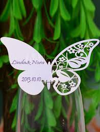 butterfly wedding wine glass cards set of 12 wedding wine