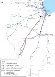 Chicago Trains Map by Illinois Midwest High Speed Rail Association