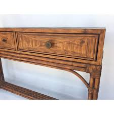 Ethan Allen Console Table Ethan Allen Burnt Bamboo Rattan 3 Drawer Console Table Chairish